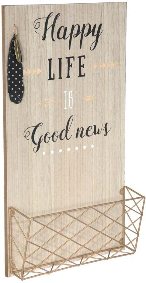 porte courrier mural en bois happy life. Black Bedroom Furniture Sets. Home Design Ideas