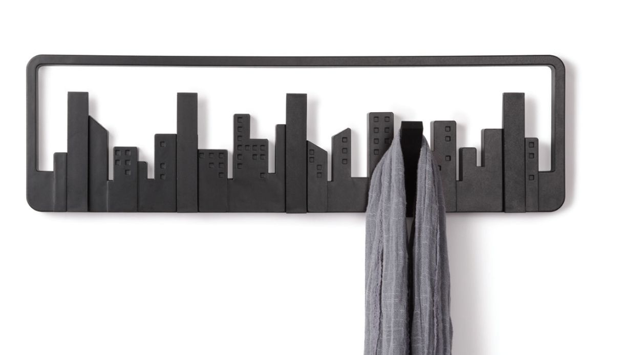 porte manteau mural design skyline noir. Black Bedroom Furniture Sets. Home Design Ideas