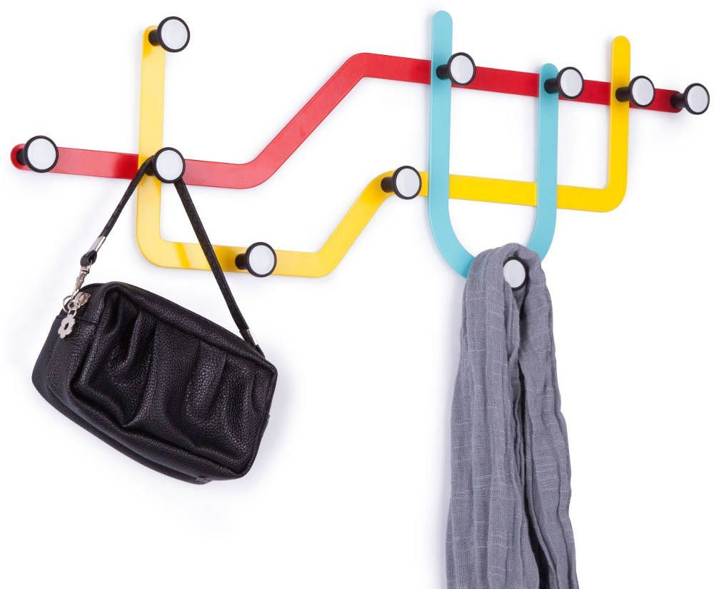 porte manteaux design mural subway multicolore. Black Bedroom Furniture Sets. Home Design Ideas