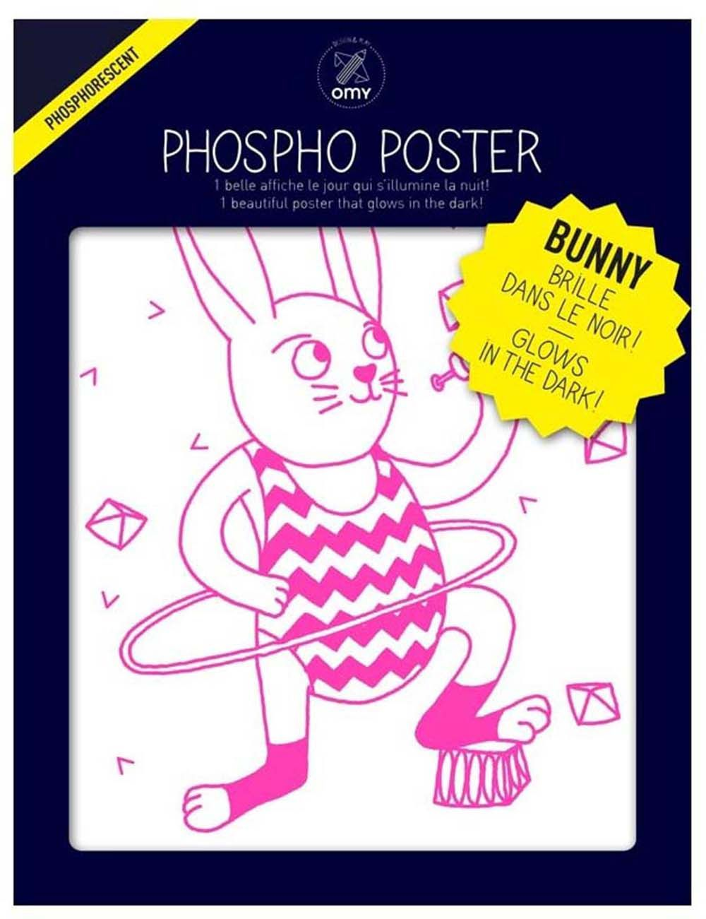 Poster phosphorescent bunny 30 x 40 cm by Omy