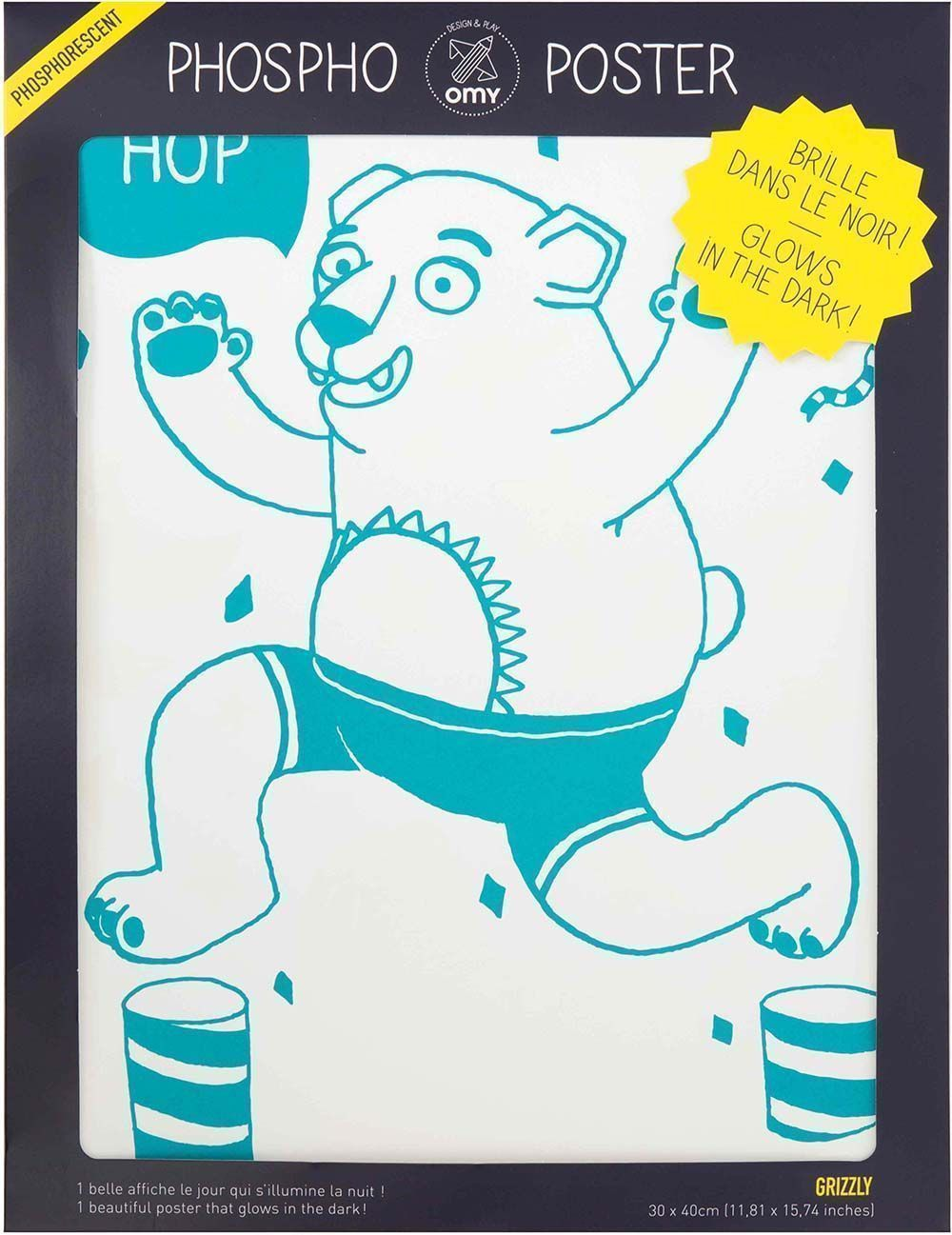 Poster phosphorescent grizzly 30 x 40 cm-2