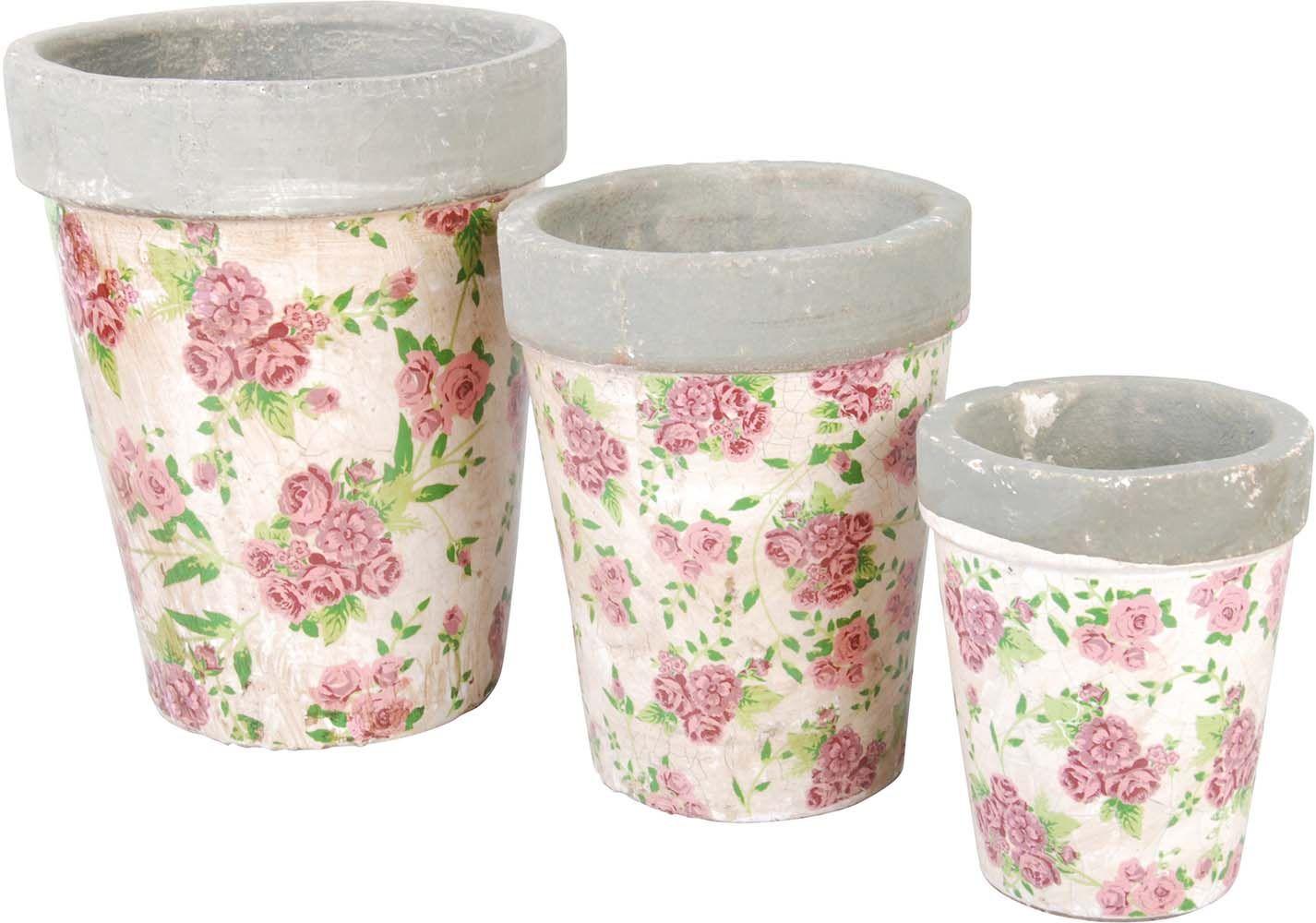 pots de fleurs ronds les roses lot de 3. Black Bedroom Furniture Sets. Home Design Ideas