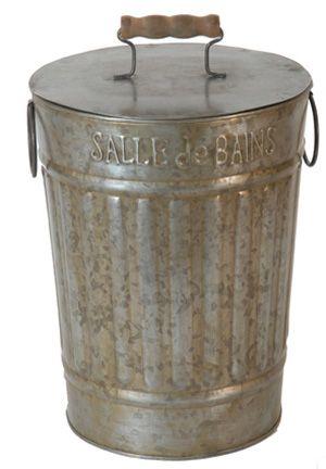 Poubelle de salle de bain en zinc sur jardindeco - Poubelle salle de bain bois ...