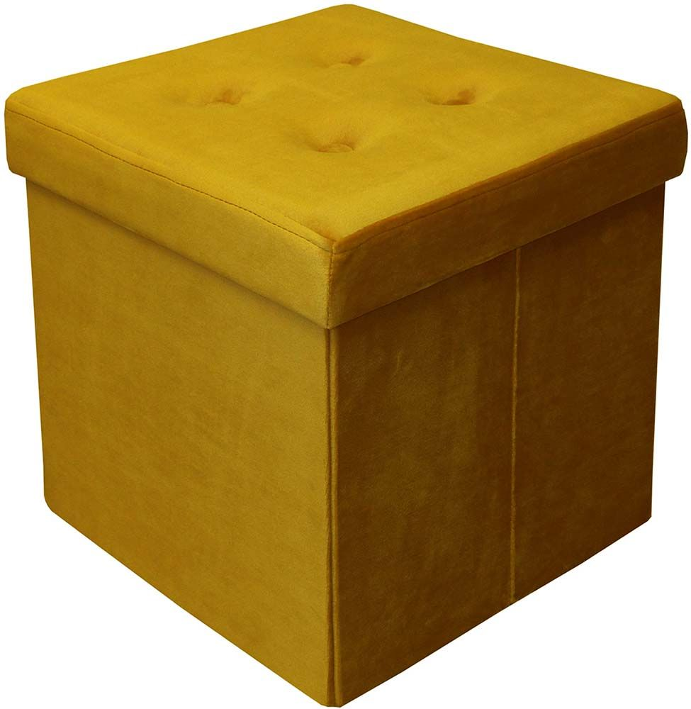 pouf coffre carr en velours synth tique capitonn jaune moutarde. Black Bedroom Furniture Sets. Home Design Ideas