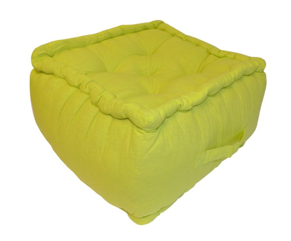 pouf color en coton 30 cm vert anis. Black Bedroom Furniture Sets. Home Design Ideas