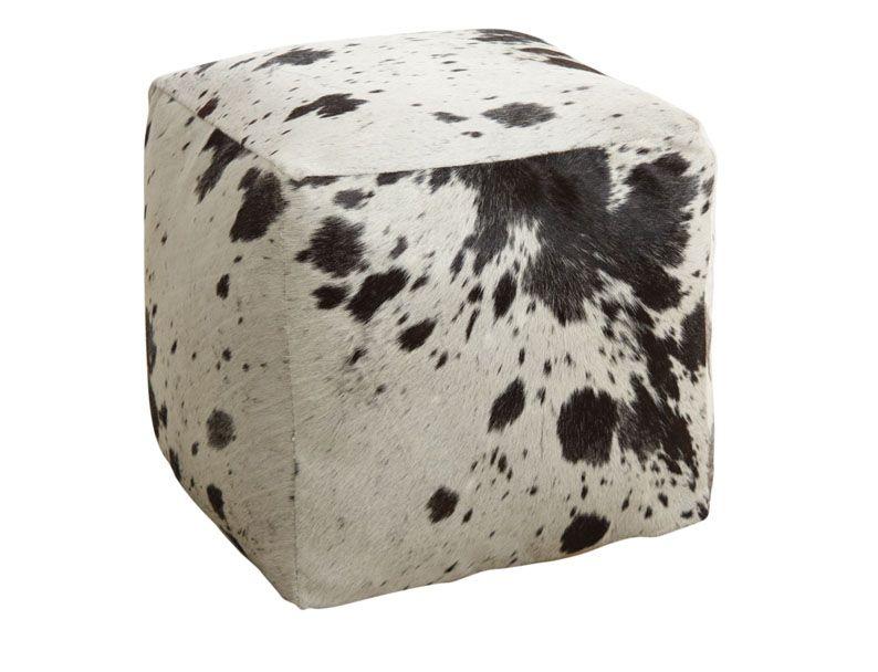 pouf cube en peau de vache. Black Bedroom Furniture Sets. Home Design Ideas