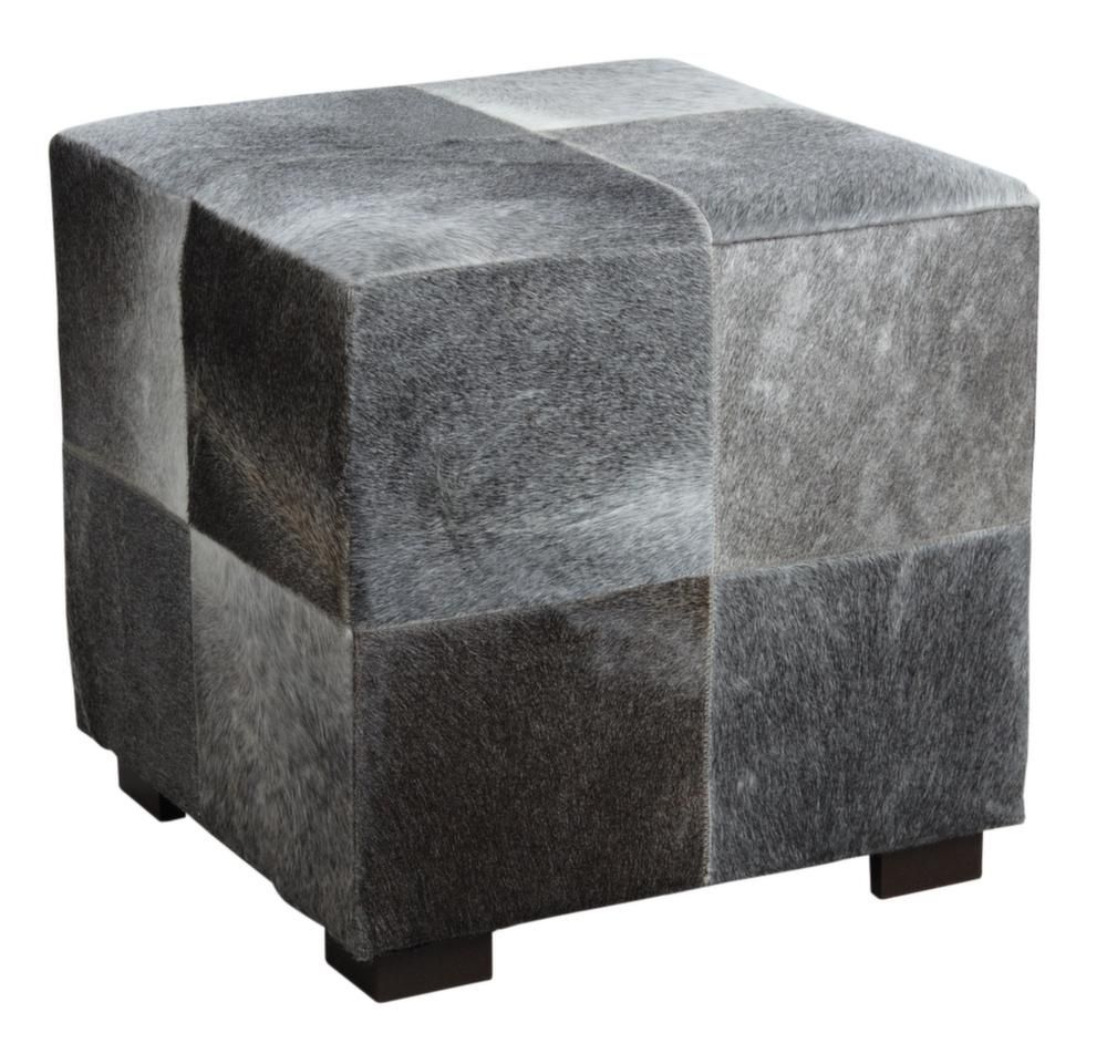 pouf cube en peau de vache grise. Black Bedroom Furniture Sets. Home Design Ideas