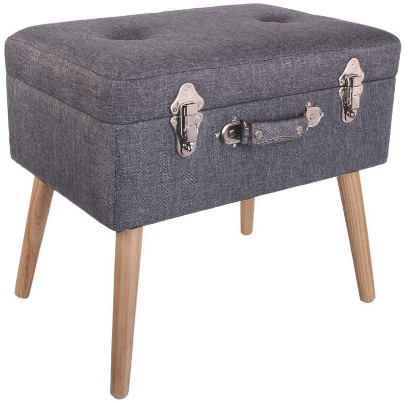pouf et valise de rangement sur pieds. Black Bedroom Furniture Sets. Home Design Ideas