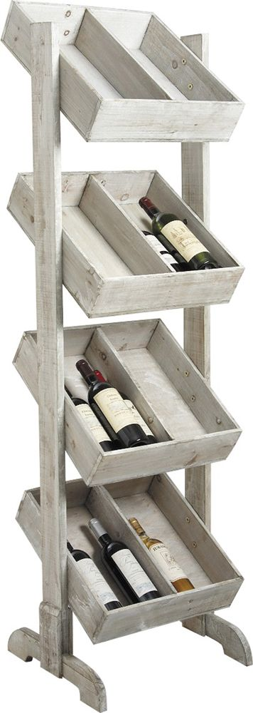 en bois vieilli présentoir à bouteilles 4 étages en bois vieilli 4 ~ Presentoire En Bois