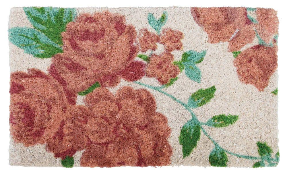 Paillasson en coco motif roses 75x45x2,5cm