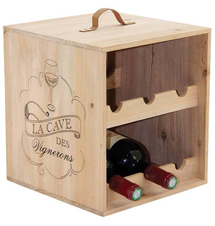 Range-bouteilles 6 bouteilles en bois