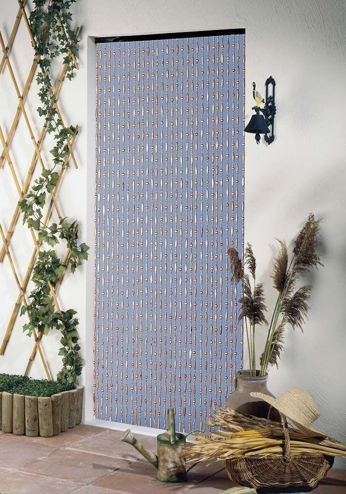 rideau en perles de bois forme olive. Black Bedroom Furniture Sets. Home Design Ideas
