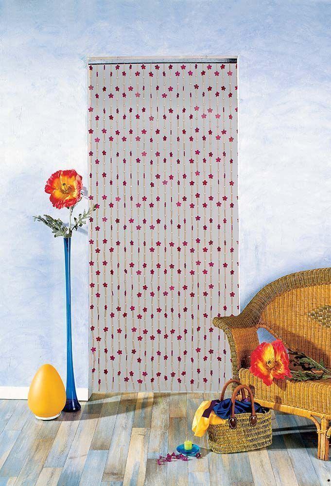 rideau en perles de bois motifs fleurs et batonnets en. Black Bedroom Furniture Sets. Home Design Ideas