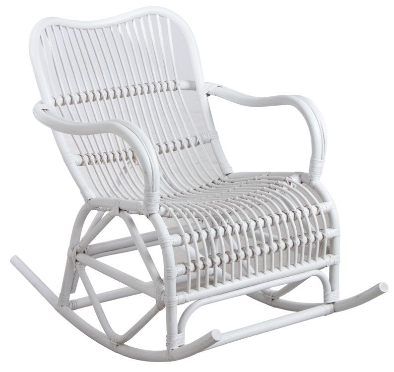 Rocking-chair en rotin blanc
