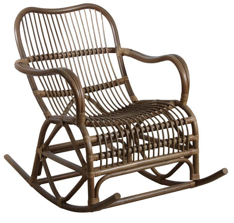 Rocking-chair en rotin gris