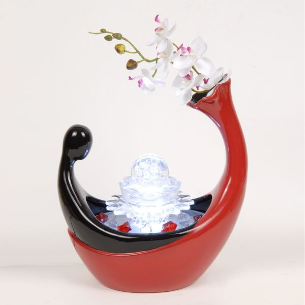 Fontaine d 39 int rieur gondole avec clairage led for Fontaine japonaise d interieur