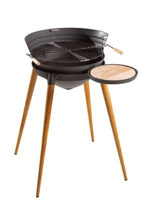 Barbecue shogun en fonte et pieds en bois 86x71x92cm