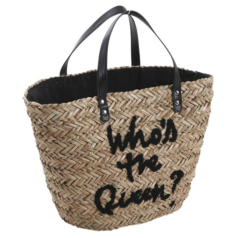 Sac cabas en jonc Who's The Queen sur Jardindeco