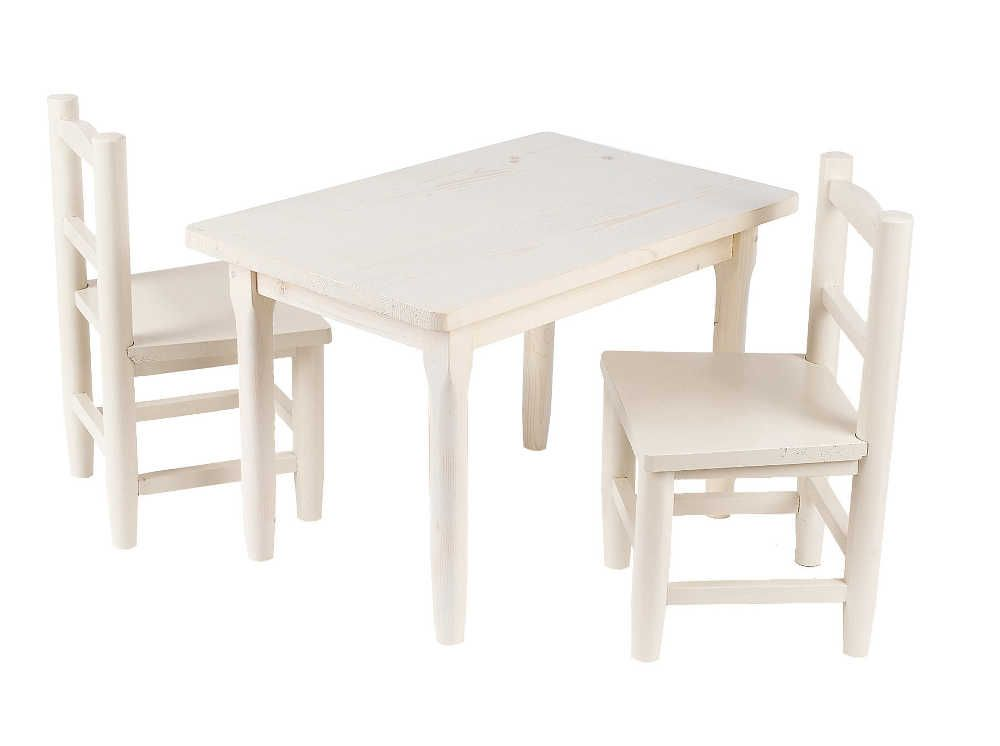 Salon enfant 1 table 2 chaises en pin blanchi for Chaise pour table blanche