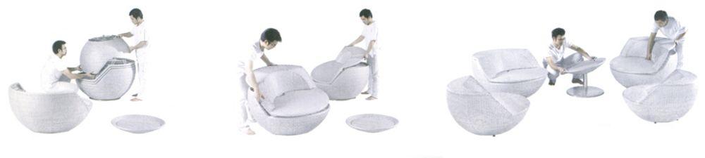 Salon boule empilable avec coussins