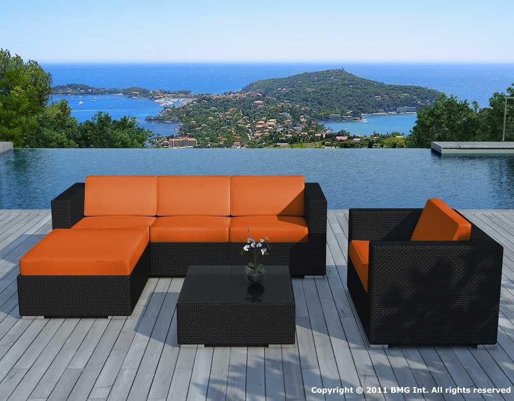 Salon de jardin 6 éléments en résine noire coussins orange