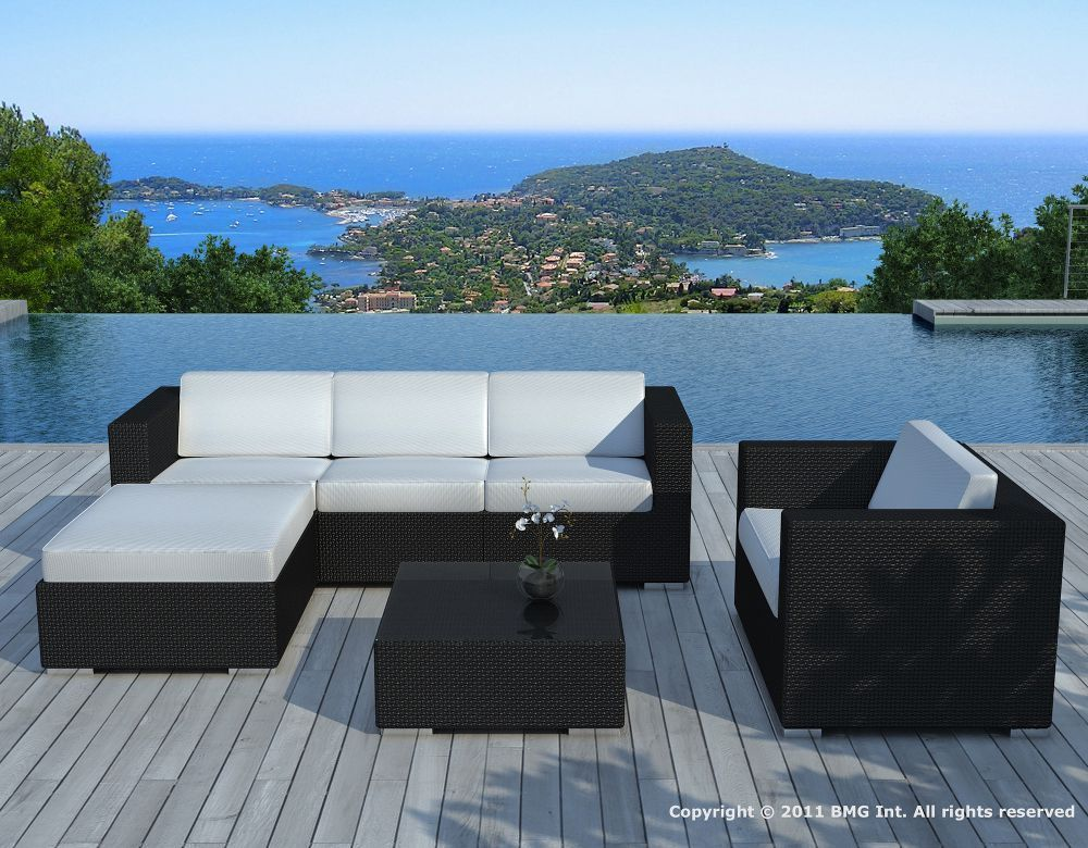 salon de jardin 6 l ments en r sine tress e noire coussins ecrus. Black Bedroom Furniture Sets. Home Design Ideas