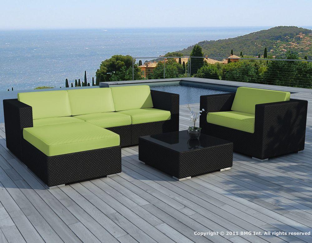 Salon de jardin 6 l ments en r sine noire coussins ver for Desserte de jardin en resine tressee