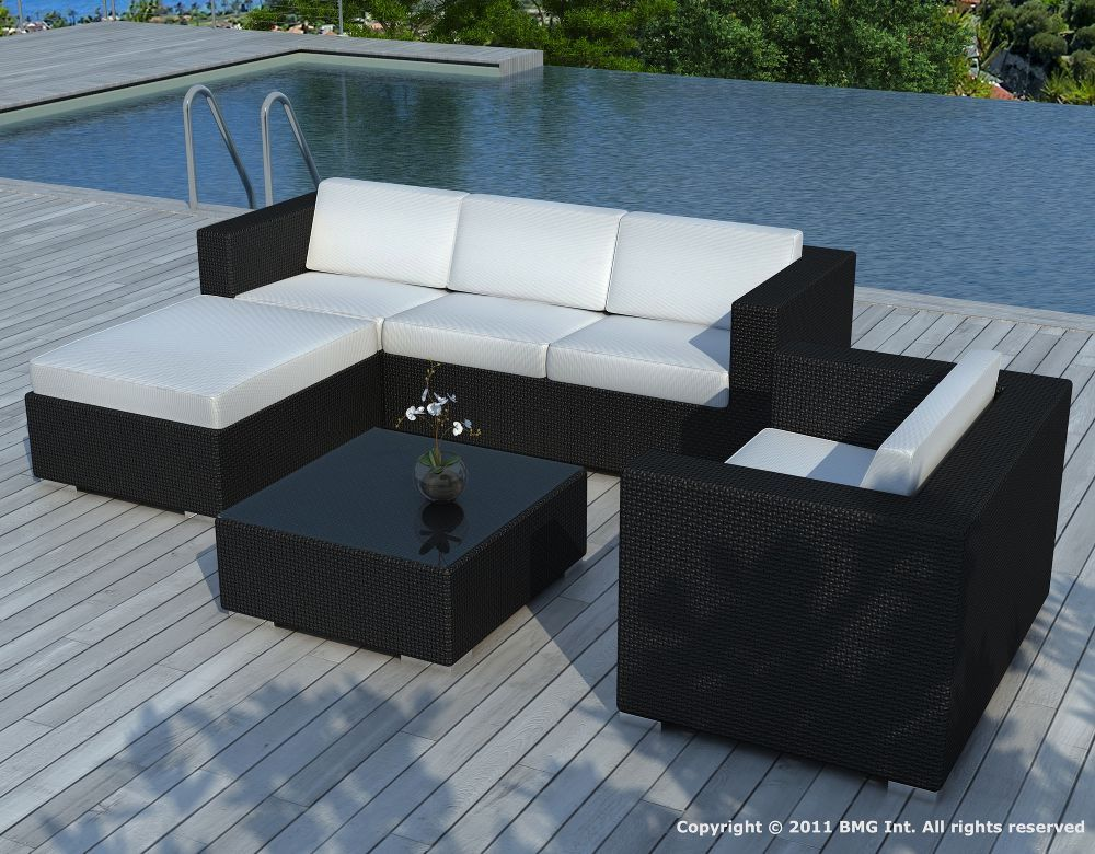 Salon de jardin 6 l ments en r sine tress e noire cous for Salon de jardin geant