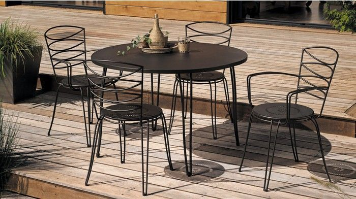 salon de jardin amande 1 table 2 chaises 2 fauteuil. Black Bedroom Furniture Sets. Home Design Ideas