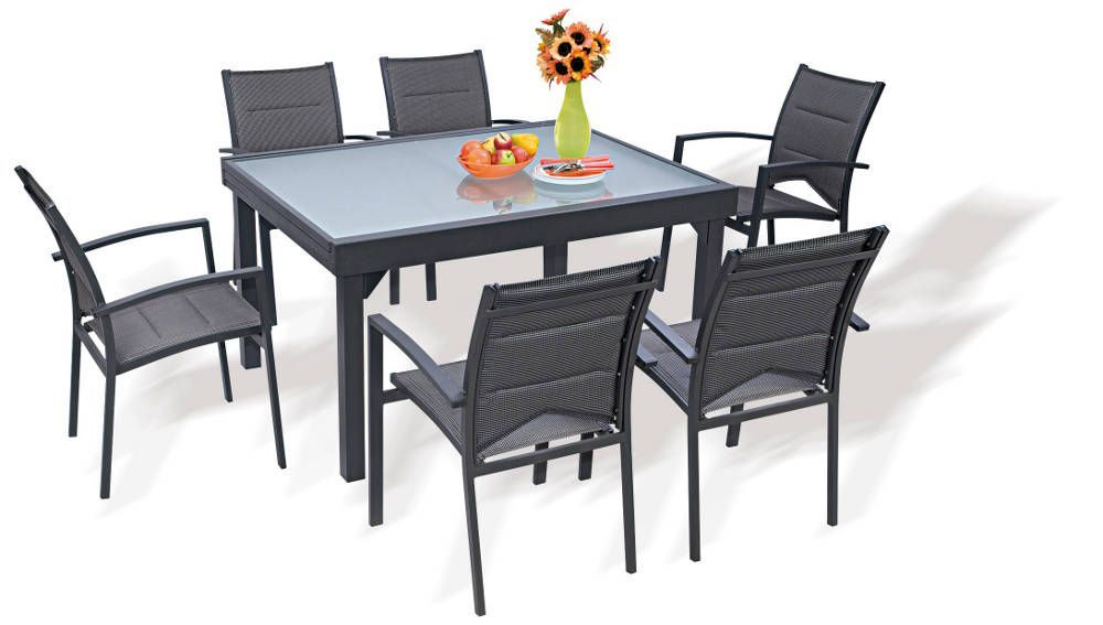 Salon de jardin modulo gris 1 table 6 fauteuils for Salon jardin pvc gris