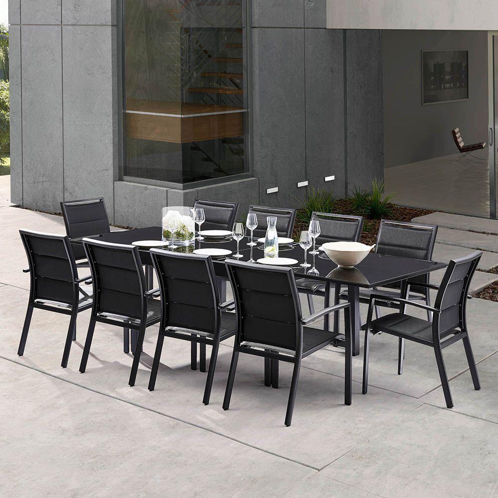 Salon de jardin moderne 10 personnes modulo noir - Table jardin moderne dijon ...