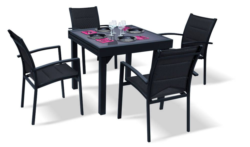 Salon de jardin modulo 1 table 4 fauteuils for Table jardin 4 personnes