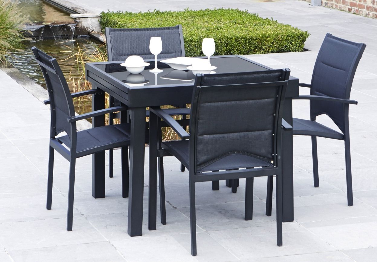 Salon de jardin modulo 1 table 4 fauteuils - Table de jardin ronde intermarche ...