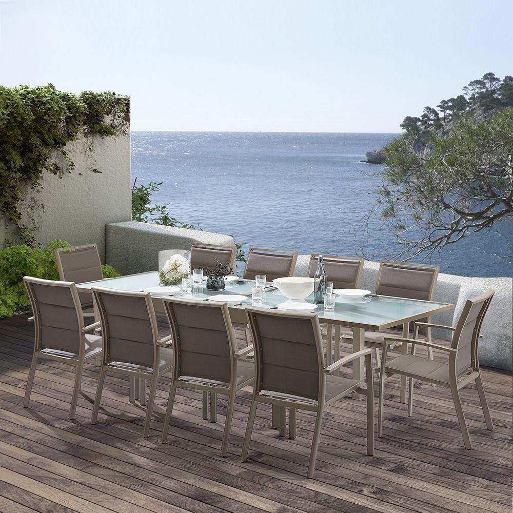 salon de jardin moderne 10 personnes modulo taupe. Black Bedroom Furniture Sets. Home Design Ideas