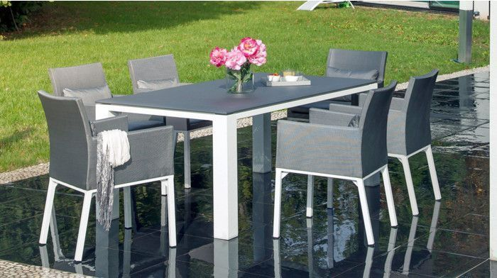 Salon de jardin Oslo gris 1 table + 6 fauteuils by Proloisirs