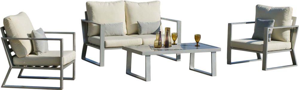salon de jardin en alu gris et beige bolivia. Black Bedroom Furniture Sets. Home Design Ideas