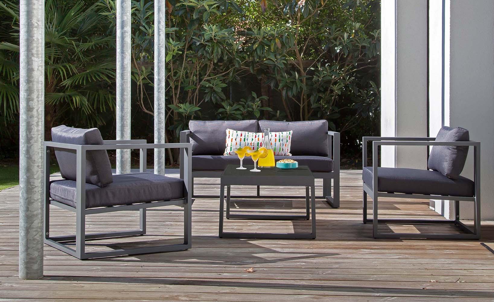 Salon de jardin en aluminium manhattan (gris et ébène)