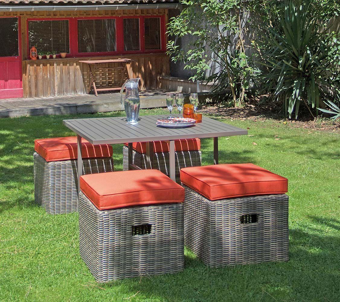salon de jardin en aluminium et r sine tress e cubio caf et paprika. Black Bedroom Furniture Sets. Home Design Ideas