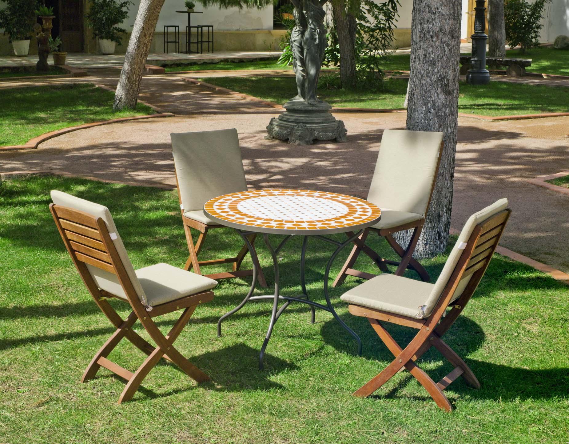 Table Bois Metal Exterieur salon de jardin bois métal et mosaïque berna valera
