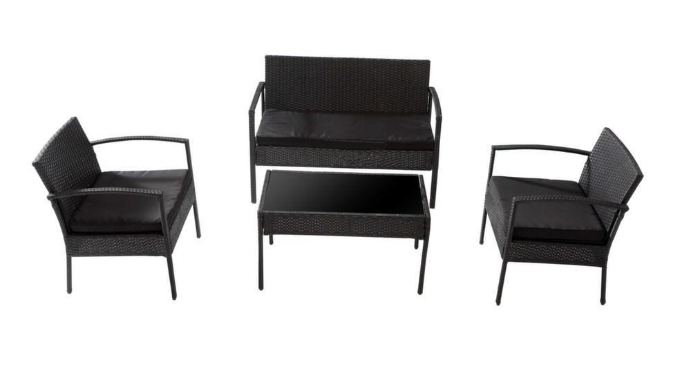 Salon de jardin canap fauteuils et table for Canape et table pour salon de jardin daveport
