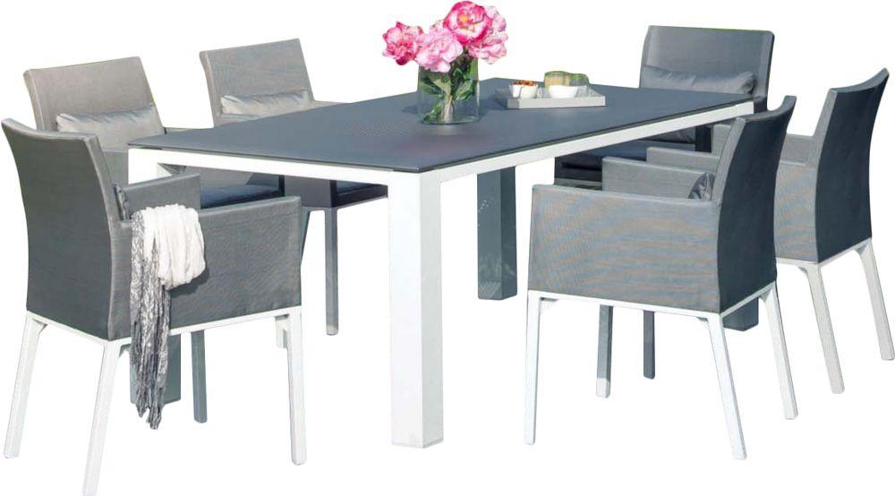 Salon de jardin confortable 6 fauteuils oslo gris for Salon confortable