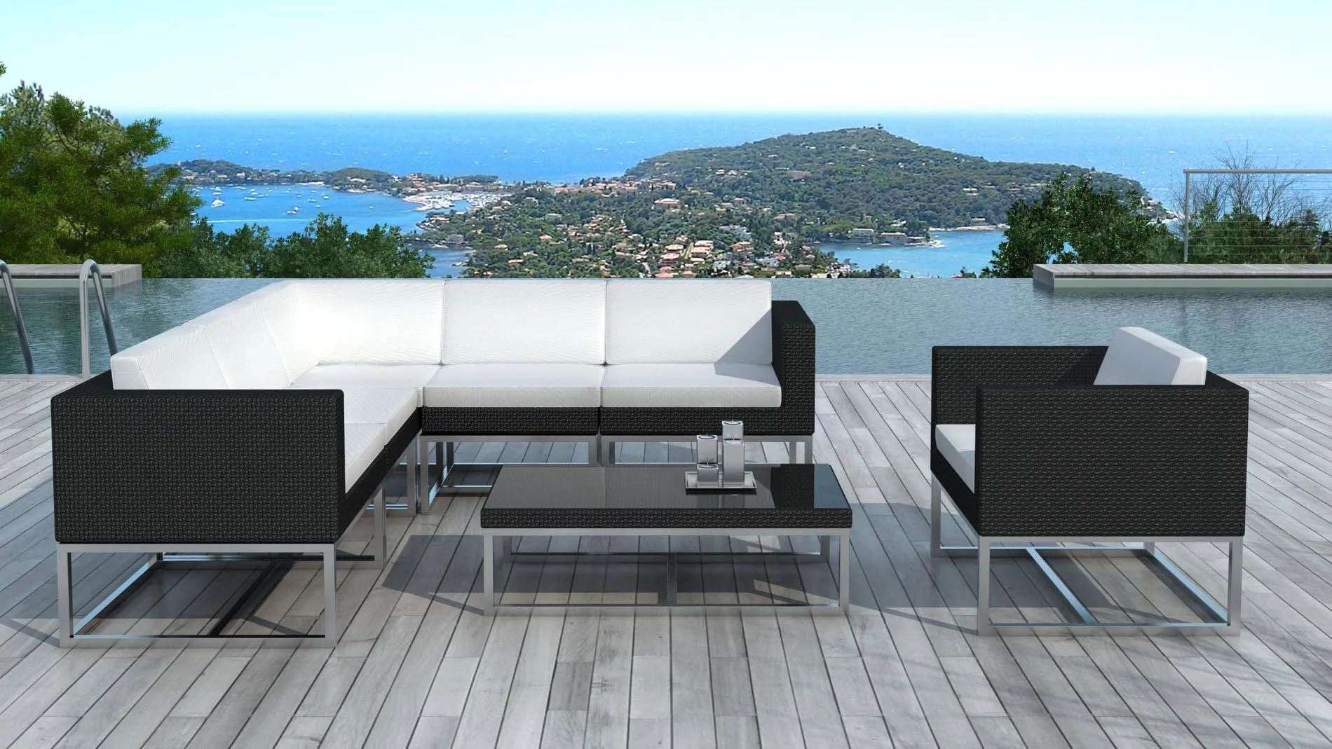 salon de jardin design 6 l ments en r sine noire coussins. Black Bedroom Furniture Sets. Home Design Ideas