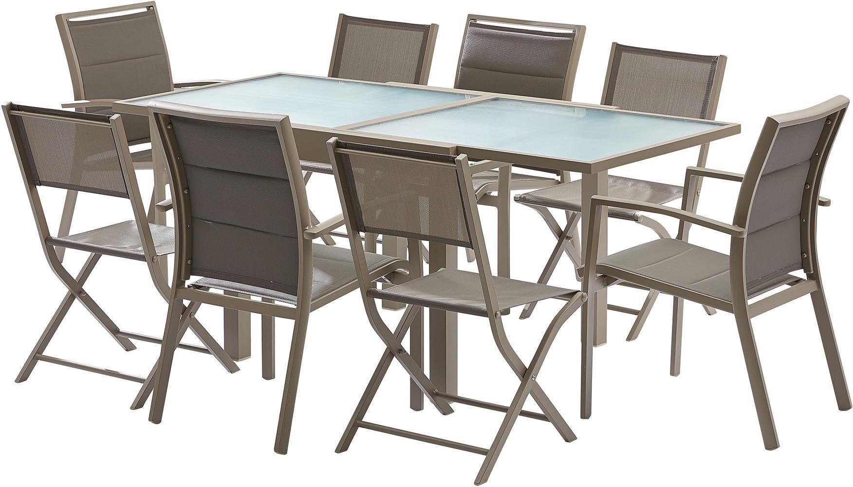 salon de jardin design 8 personnes modulo taupe. Black Bedroom Furniture Sets. Home Design Ideas