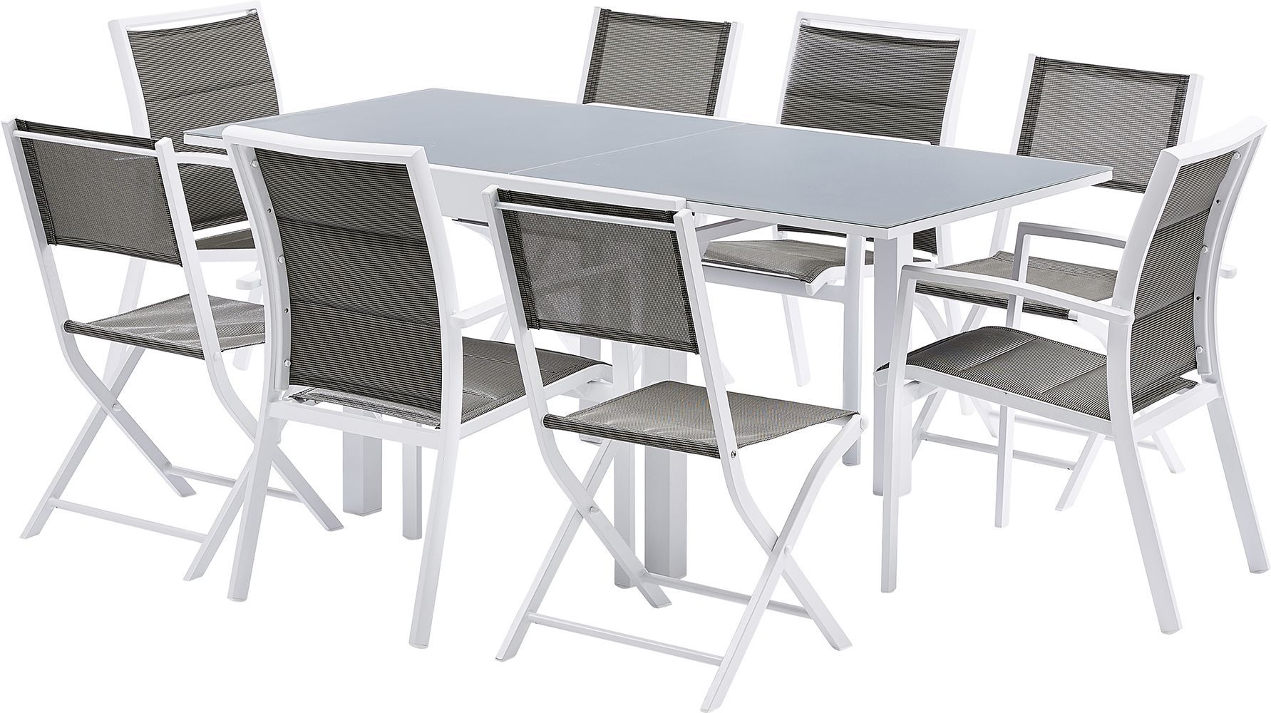 salon de jardin design 8 personnes modulo blanc. Black Bedroom Furniture Sets. Home Design Ideas
