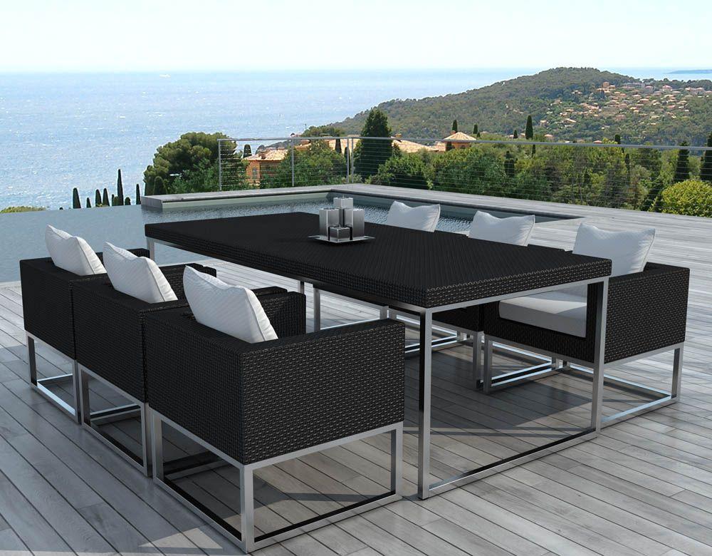 Salon de jardin design 1 table 6 fauteuils for Table et fauteuil de jardin