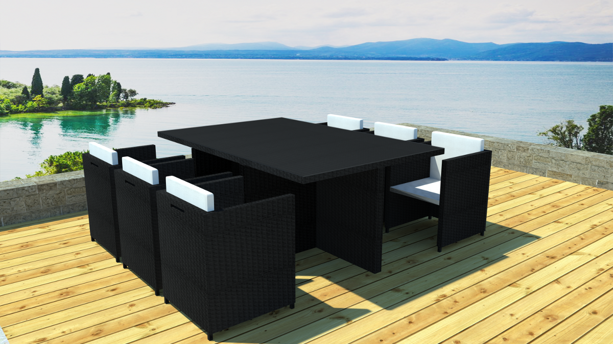 salon de jardin encastrable 6 places. Black Bedroom Furniture Sets. Home Design Ideas