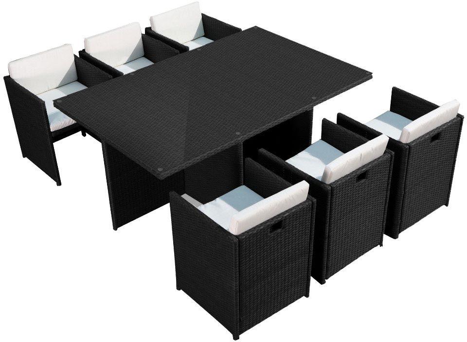 salon de jardin encastrable 6 places noir cru. Black Bedroom Furniture Sets. Home Design Ideas