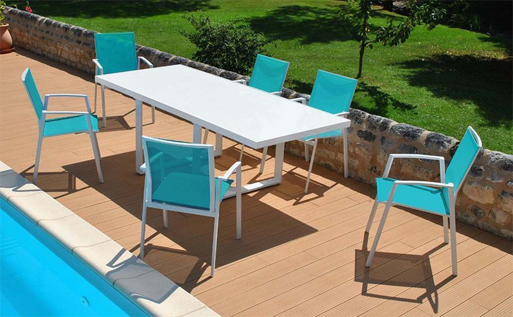 salon de jardin moderne bleu 6 personnes cyclades. Black Bedroom Furniture Sets. Home Design Ideas