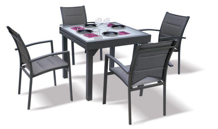 salon de jardin moderne 4 personnes modulo gris. Black Bedroom Furniture Sets. Home Design Ideas