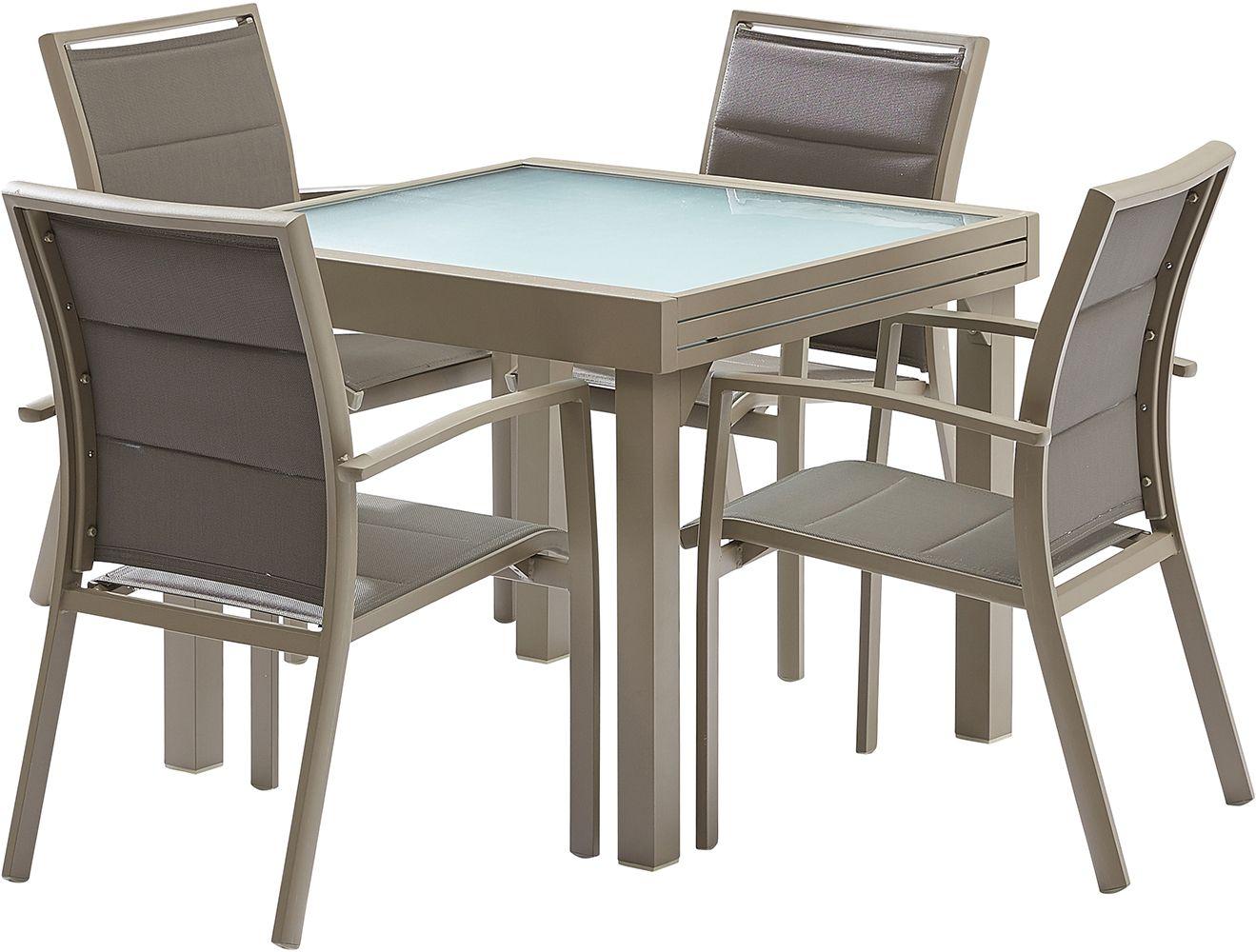 Salon de jardin moderne 4 personnes modulo taupe - Table de jardin moderne ...